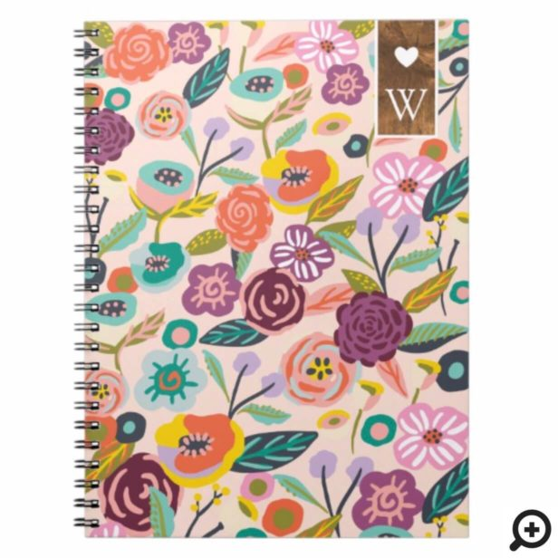 Vibrant Abstract Floral & Foliage Botanical Garden Notebook
