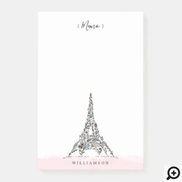 Floral Flowers Paris Eiffel Tower Personalized Post-it Notes
