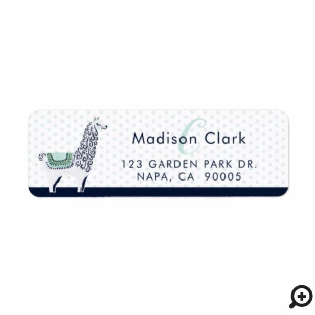 Teal & Navy Modern Trendy Llama Polka Dot Monogram Label