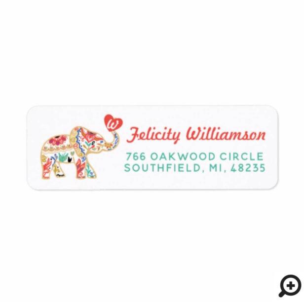 Elegant Floral Decorative Ornate Elephant Heart Label