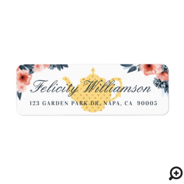 Pale Yellow Vintage Tea Pot & Floral Pink Flowers Label