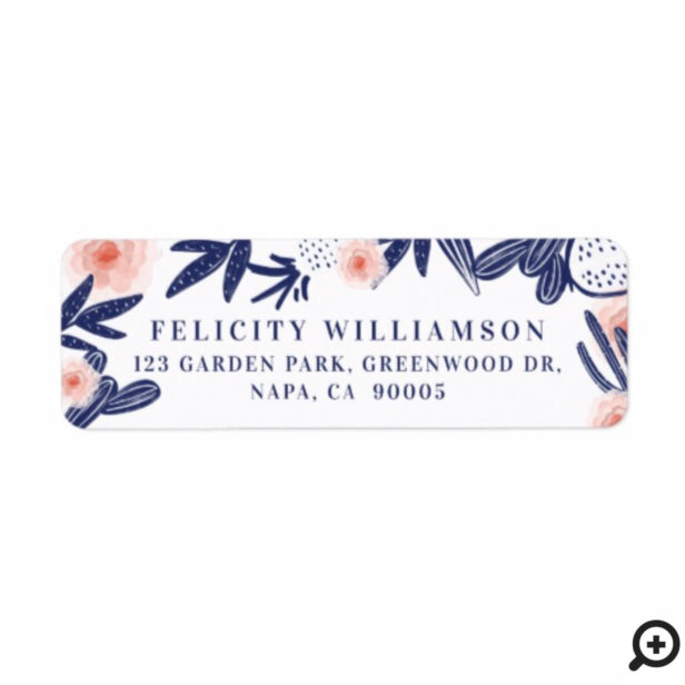 Tropical Navy Blue Cactus & Pink Floral Flowers Label