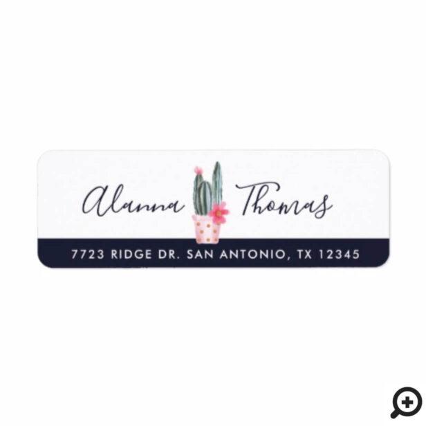 Chic, Trendy Watercolor Floral Cactus Plant Label