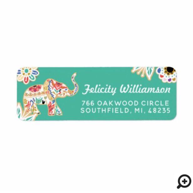 Elegant Floral Decorative Ornate Elephant Design Label