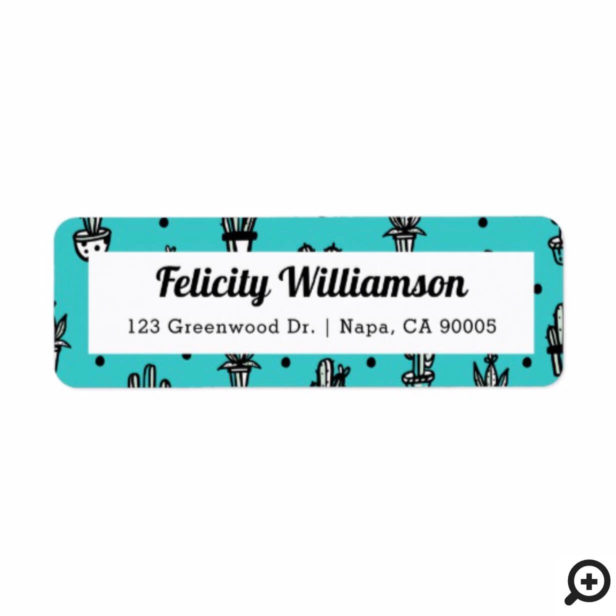 Trendy, Chic Fun Teal & Black Potted Cactus Plants Label