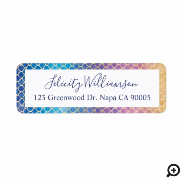 Rainbow & Gold Watercolor Mermaid Scale Pattern Label
