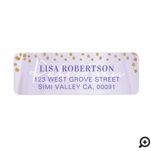 Soft Purple Watercolor & Gold Polka Dot Confetti Label