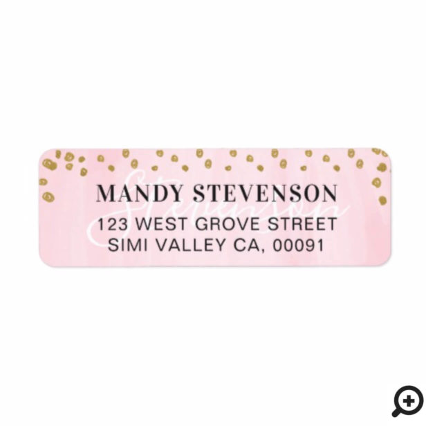 Soft Pink Watercolor & Gold Polka Dot Confetti Label