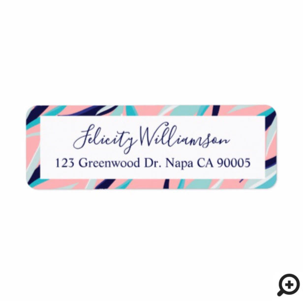 Trendy Pink & Aqua Tropical Flamingo & Palm Leafs Label