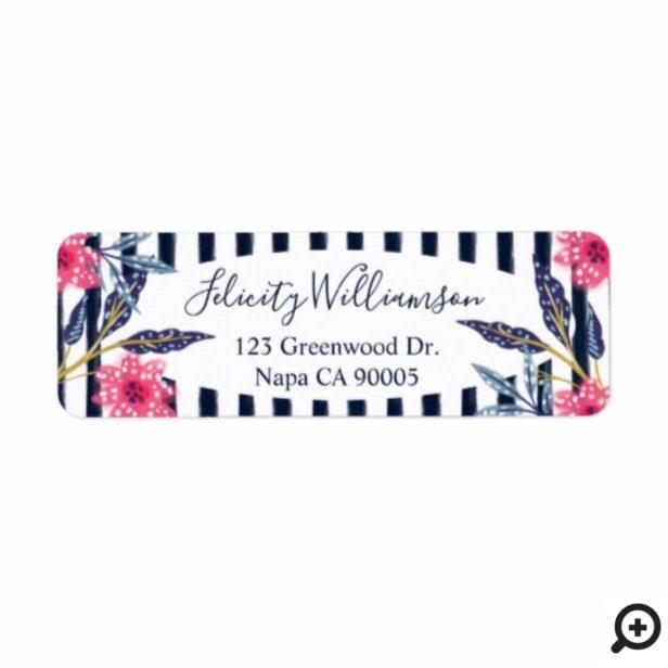 Pink Florals & Stripes Modern Watercolor Botanical Label