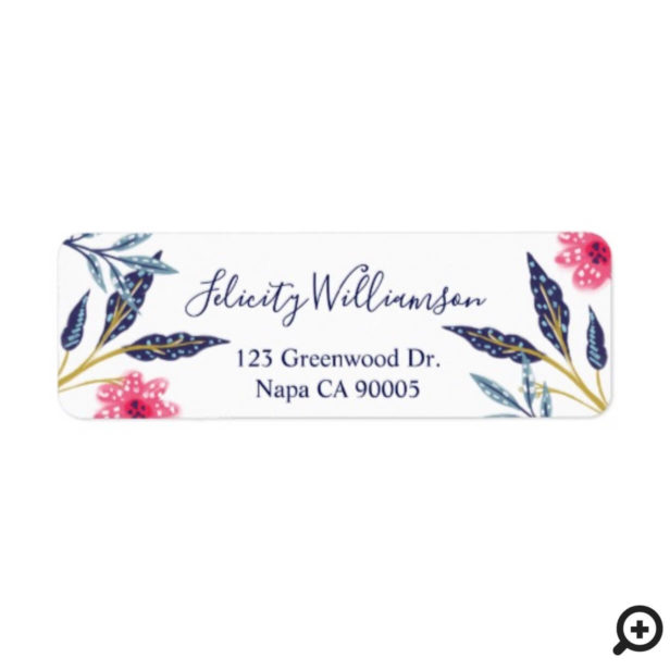 Pink Florals & Leaves Modern Watercolor Garden Label