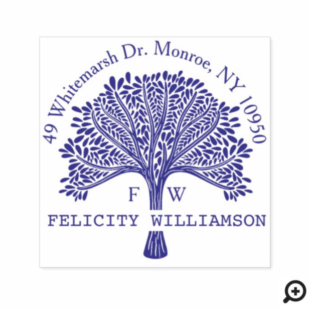 Custom Name Natural Family Tree Return Address Self-inking Stamp