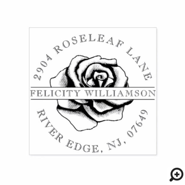 Elegant Floral Rose Blossom Flower Crest Address Rubber Stamp