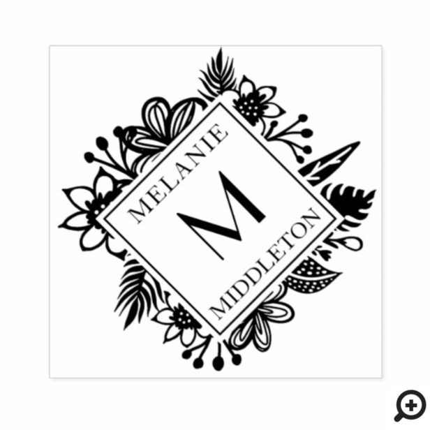 Tropical Wreath Greenery Family Name & Monogram Rubber Stamp