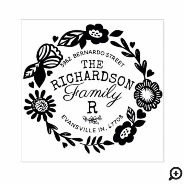 Modern Floral Circular Monogram Family Address Rubber Stamp