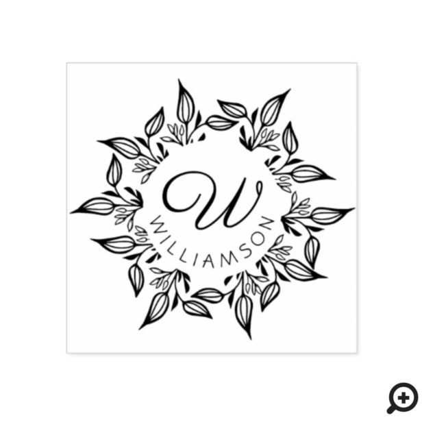 Floral Leaves Botanical Circular Name & Monogram Rubber Stamp