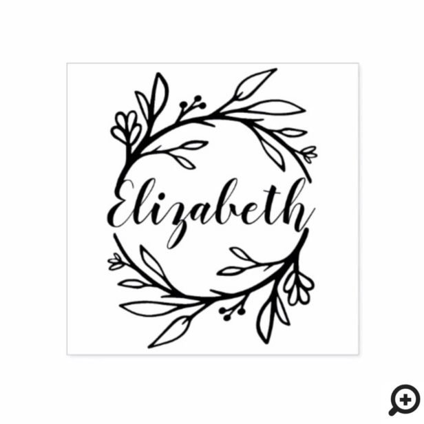 Leafy Floral Botanical Wreath Greenery Family Name Rubber Stamp