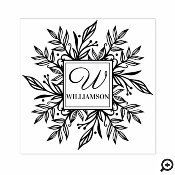 Botanical Wreath Greenery Family Name & Monogram Rubber Stamp