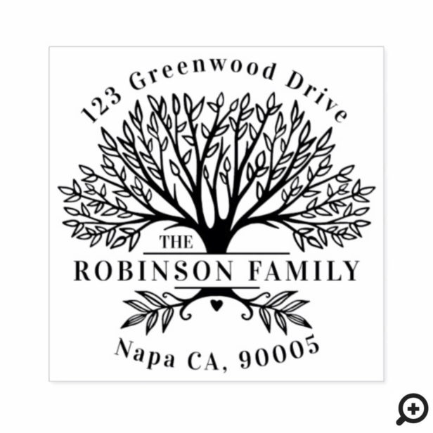 Custom Name Natural Family Tree Return Address Rubber Stamp