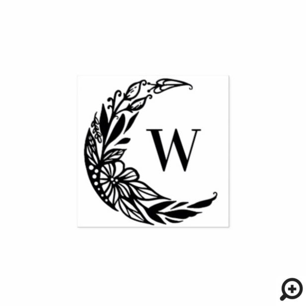 Botanical Floral Crescent Moon Custom Monogram Rubber Stamp