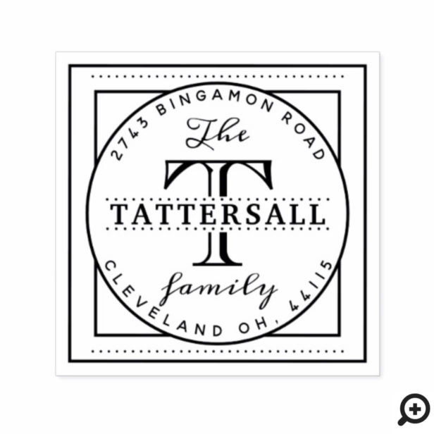 Family Monogram Typographic Crest Style Address Self-inking Stamp
