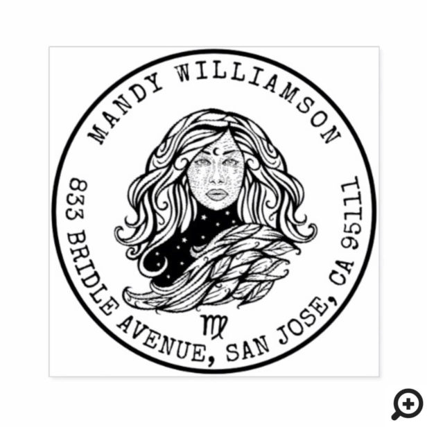 Virgo Zodiac Hand-drawn Crest | Return Address Rubber Stamp