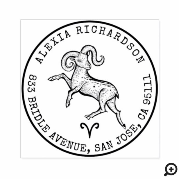 Aries Ram Zodiac Hand-drawn Crest | Return Address Rubber Stamp