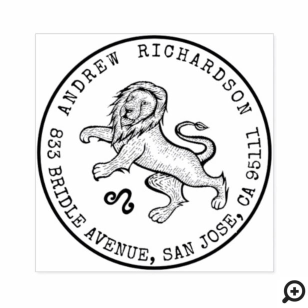 Leo Lion Zodiac Hand-drawn Crest | Return Address Rubber Stamp