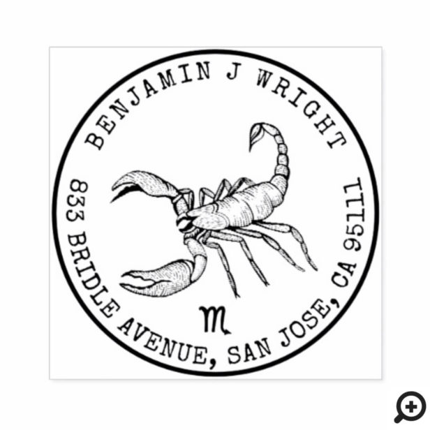 Scorpio Zodiac Hand-drawn Crest | Return Address Rubber Stamp