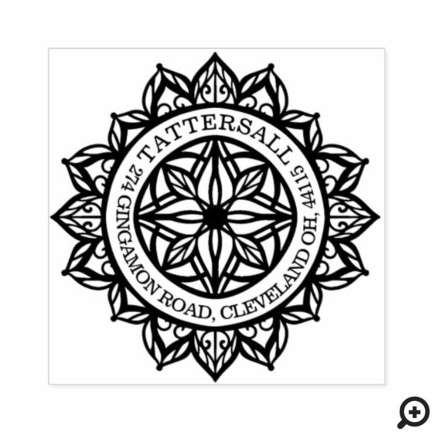 Custom Spiritual Holistic Mandala Lotus Address Rubber Stamp