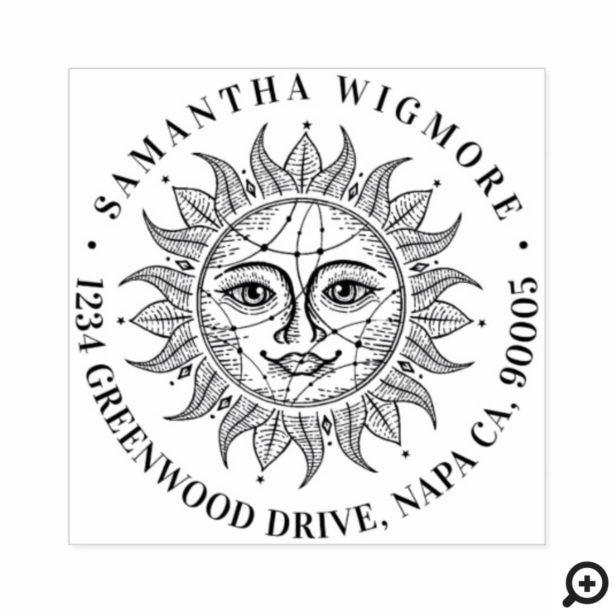 Handdrawn Beautiful Celestial Sun Face Star Rubber Stamp