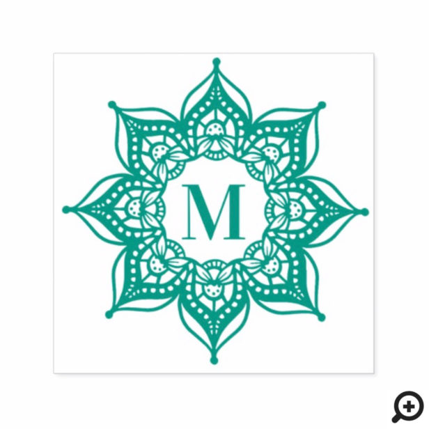 Custom Monogram Initial Spiritual Mandala Lotus Self-inking Stamp