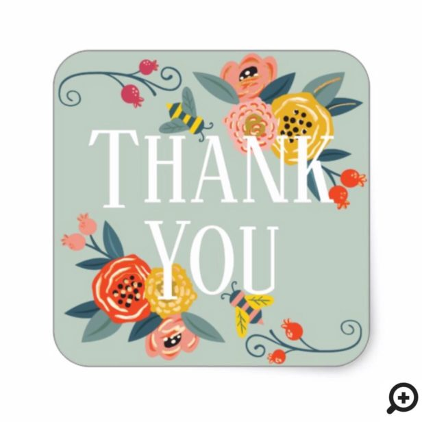 Thank You | Vibrant Floral Wildflowers & Honey Bee Square Sticker