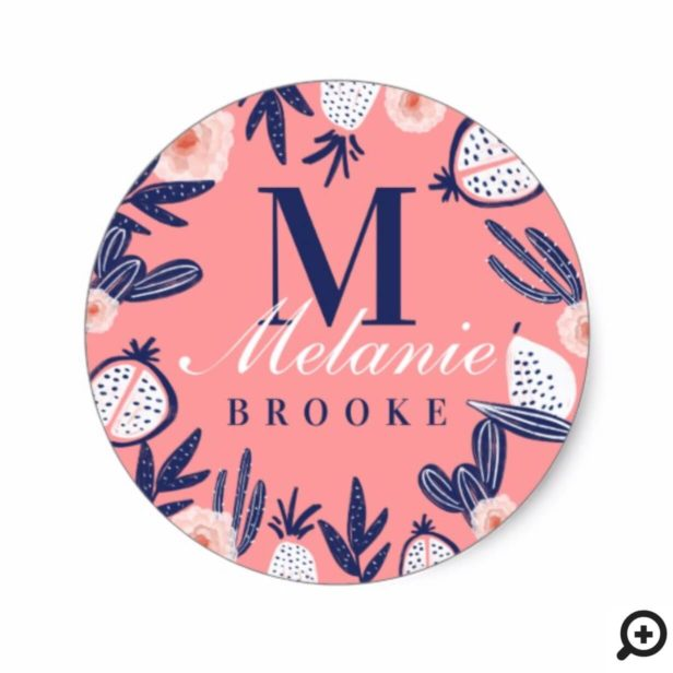 Modern Girly Pink Tropical Fruits Cactus & Florals Classic Round Sticker