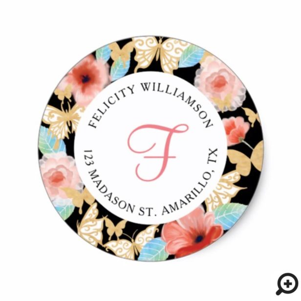 Beautiful Butterfly Royal Floral Crown Black Gold Classic Round Sticker