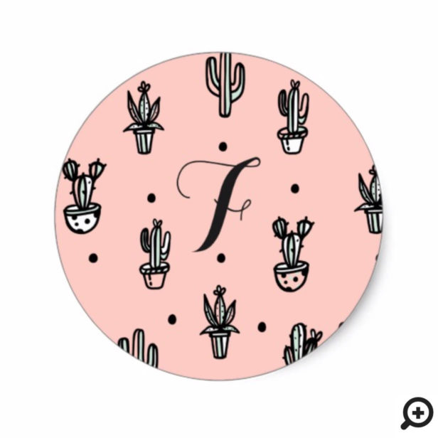 Trendy, Chic Stylish Potted Cactus Plants Monogram Classic Round Sticker