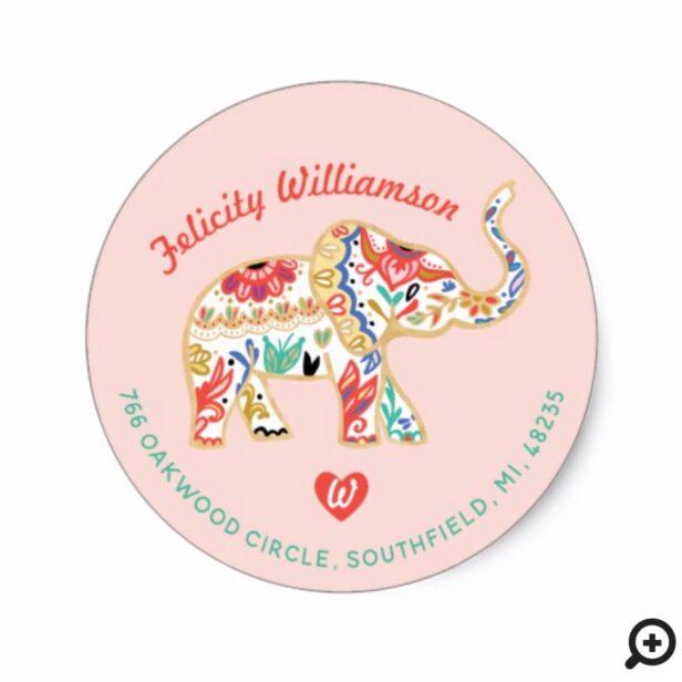 Elegant Floral Decorative Ornate Elephant Address Classic Round Sticker
