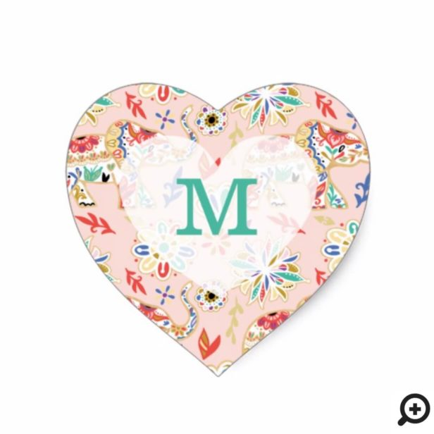 Elegant Floral Decorative Ornate Elephant Pattern Heart Sticker