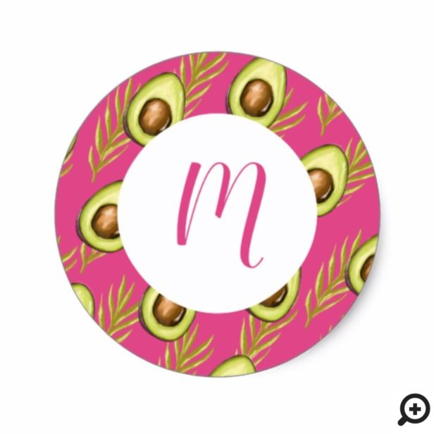 Modern Trendy Pink Tropical Leaves Avocado Pattern Classic Round Sticker