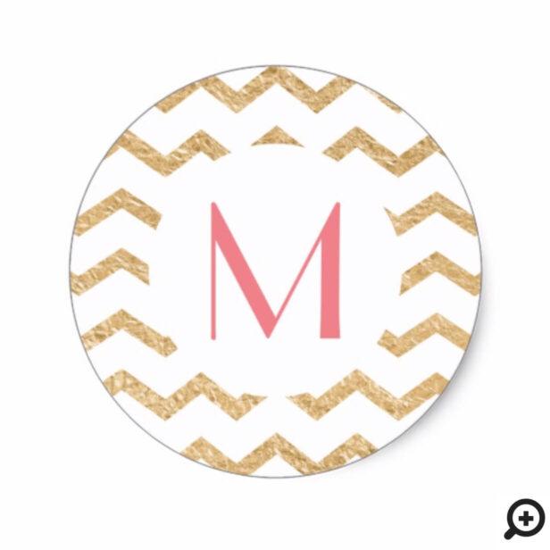 Elegant Modern Retro Faux Gold Stripe Monogram Classic Round Sticker