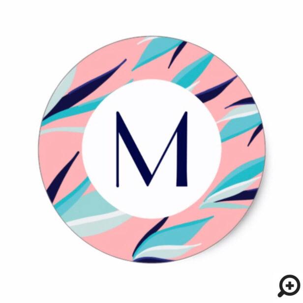 Trendy Pink & Aqua Tropical Palm Leaf Monogram Classic Round Sticker