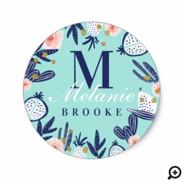 Modern Girly Blue Tropical Fruits Cactus & Florals Classic Round Sticker
