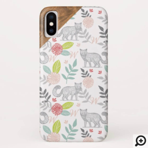 Woodland Forest Fox & Floral Foliage Monogram Case-Mate iPhone Case