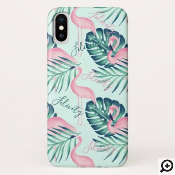 Tropical Paradise Palm Leaf & Pink Flamingo Name Case-Mate iPhone Case