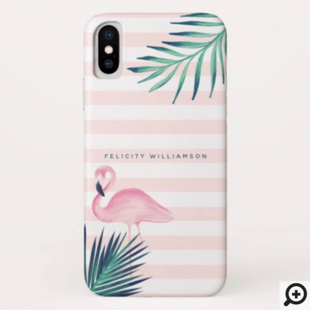 Tropical Palm Pink Flamingo Pink & White Stripe Case-Mate iPhone Case