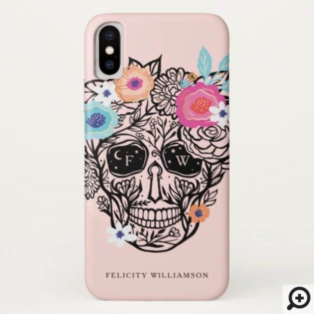 Bold Line Drawn Black & White Floral Sugar Skull Case-Mate iPhone Case