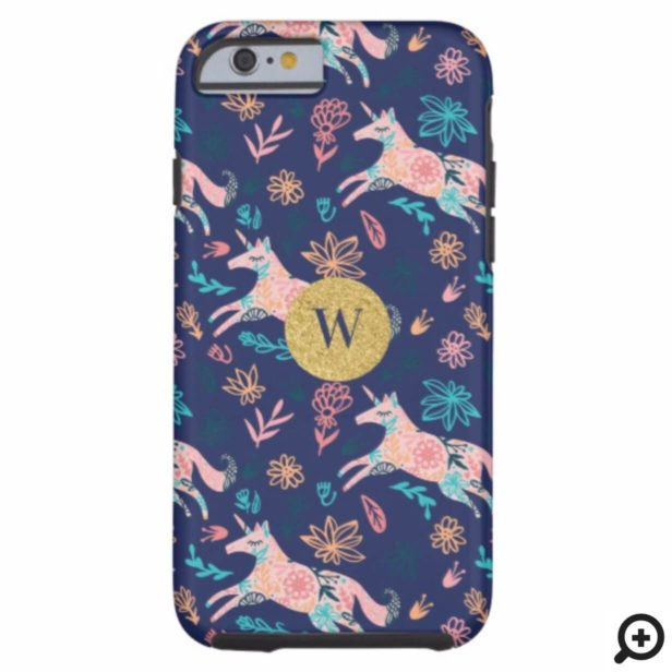 Magical Whimsical Pink Floral Unicorn Monogram Case-Mate iPhone Case