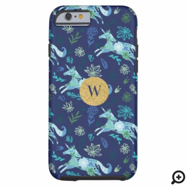 Magical Whimsical Blue Floral Unicorn Monogram Case-Mate iPhone Case