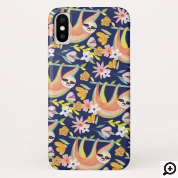 Chic Topical Vibes Jungle Sloth & Floral Pattern Case-Mate iPhone Case