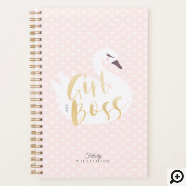 Girl Boss | Chic Girly White Swan & Polka Dot Planner